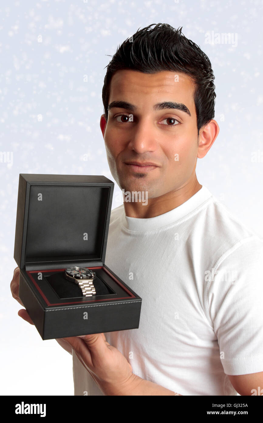 Man holding box product - Stock Image