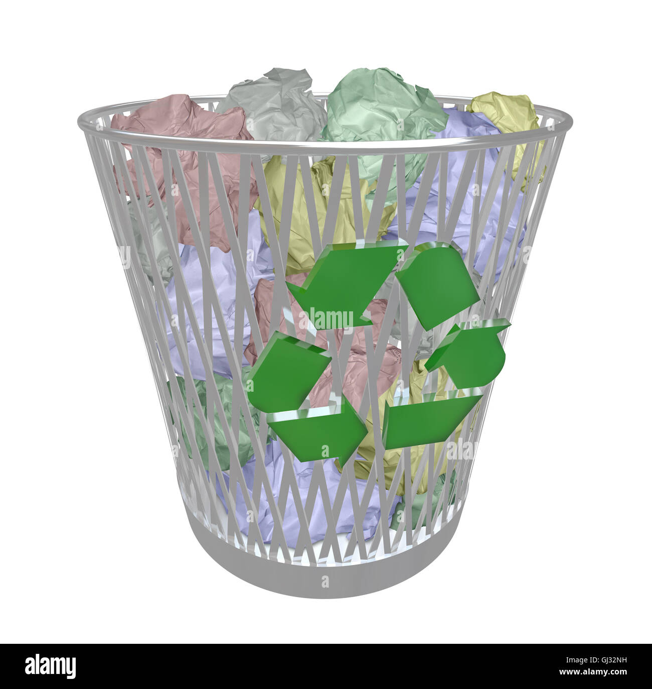 Recycle Bin - Colored Paper - Stock Image