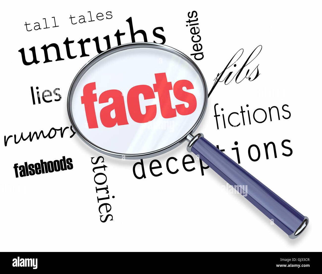 Searching for Facts vs. Fiction - Magnifying Glass - Stock Image