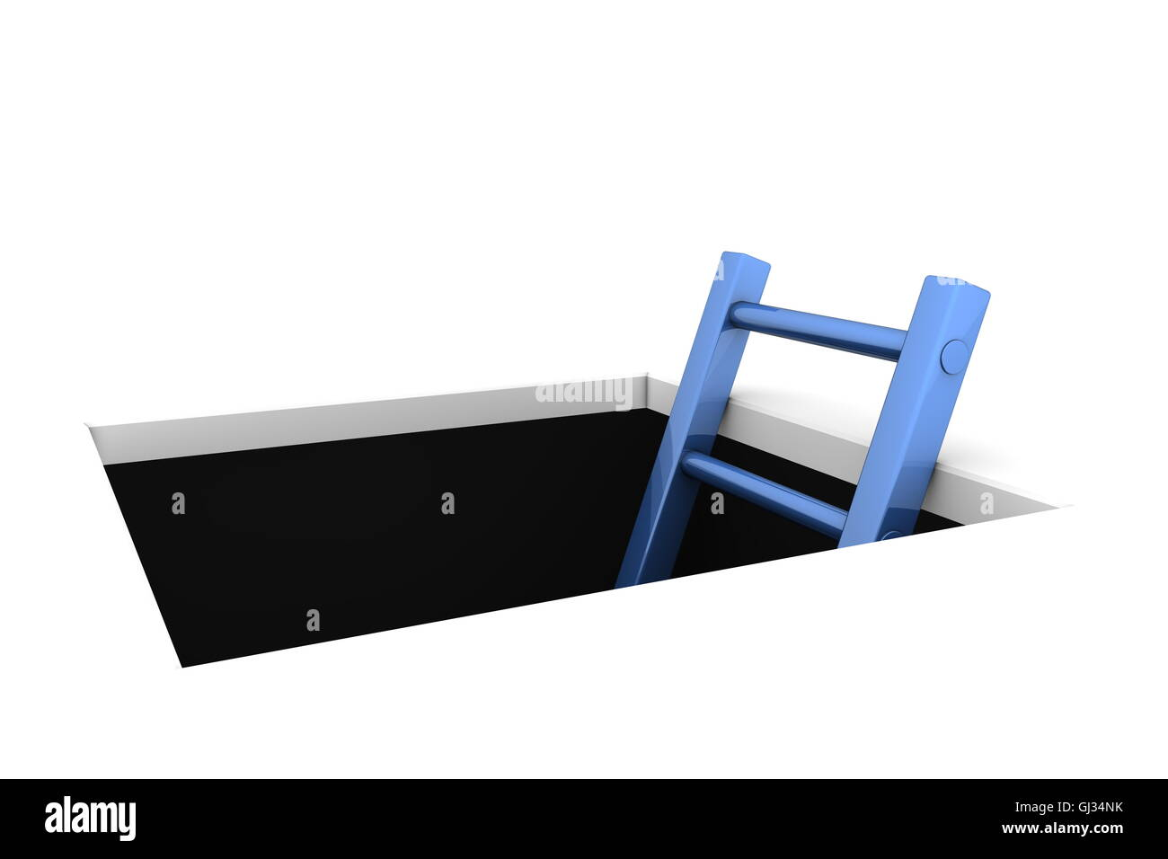 Climb out of the Hole - Shiny Blue Ladder - Stock Image