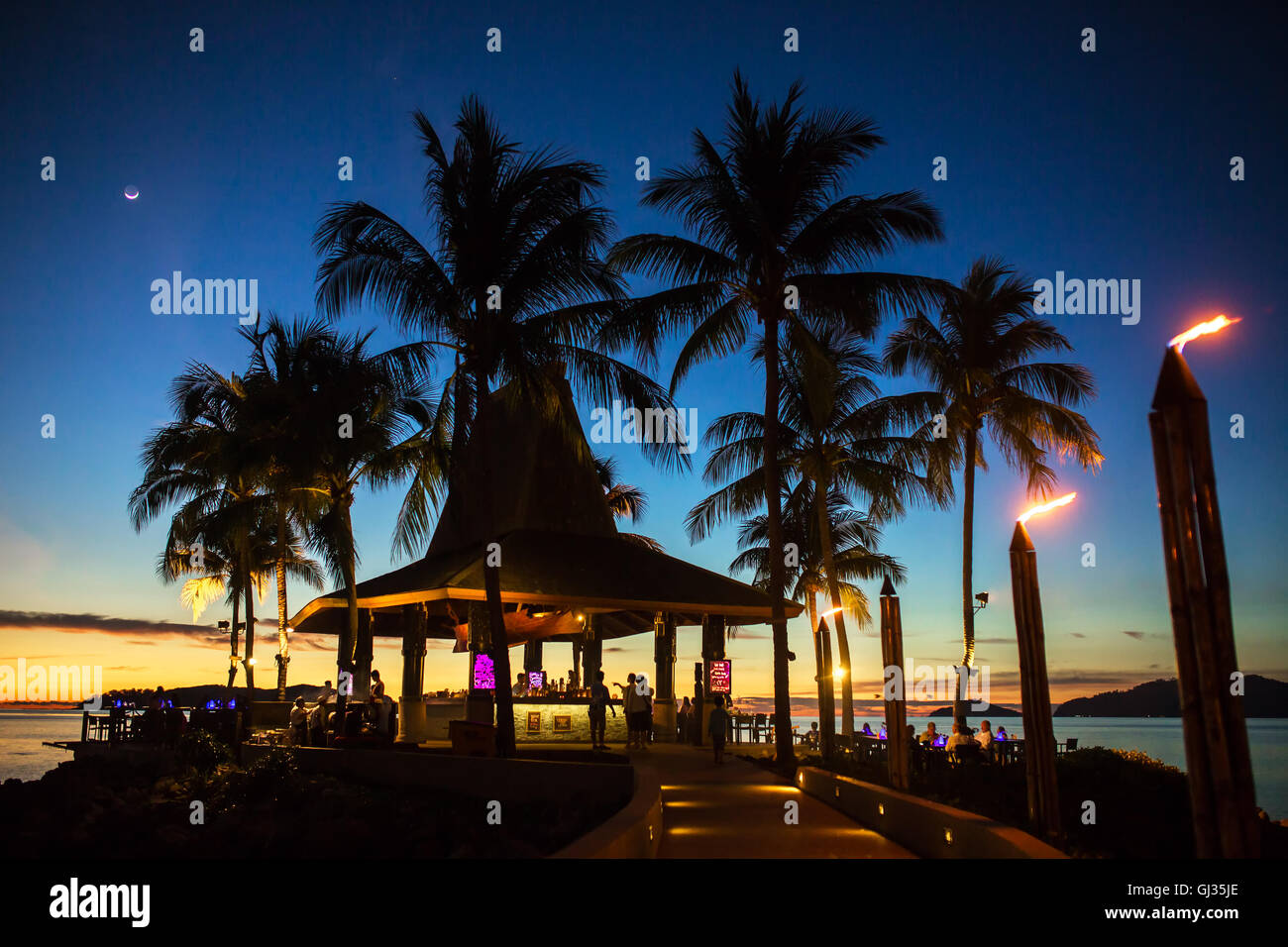 Luxury Tropical Beach Restaurant At Night In Kota Kinabalu