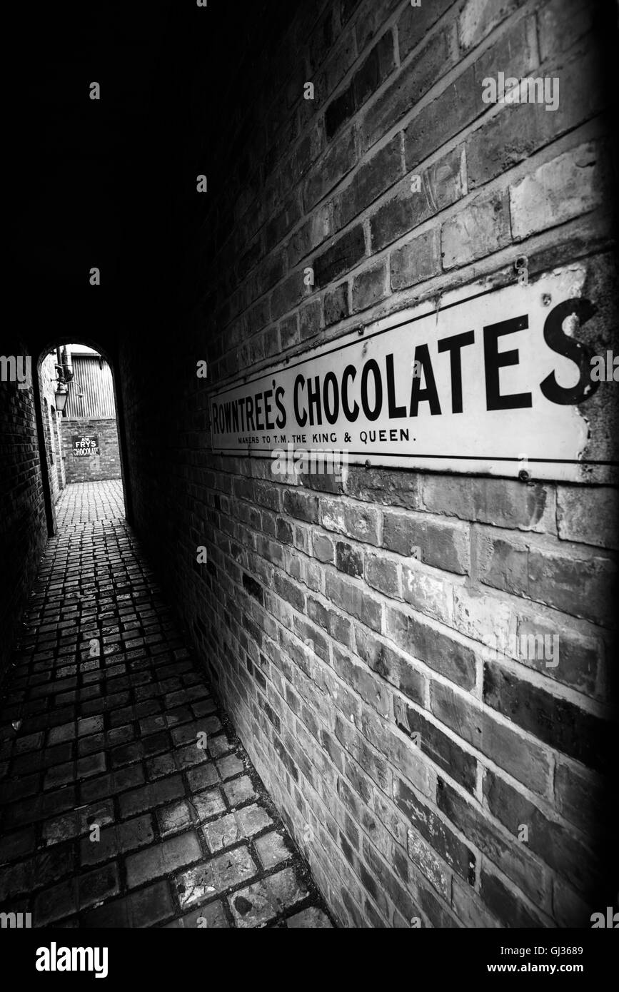 Alleyway behind Jubilee Confectioners at the Beamish Open Air Museum, near Stanley in County Durham England UK - Stock Image