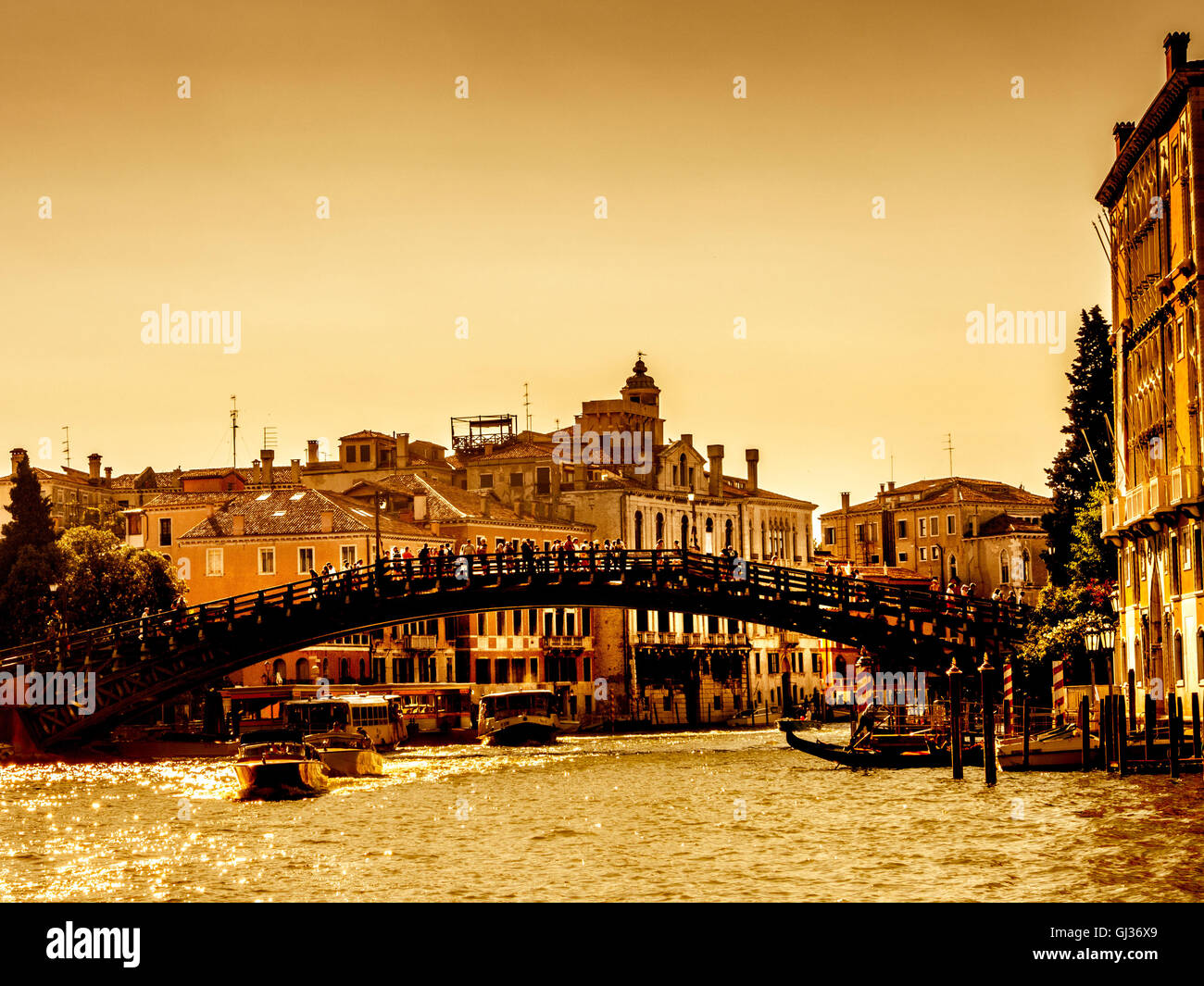 Accademia Bridge and the Grand Canal, Venice Italy, with a golden sky. - Stock Image