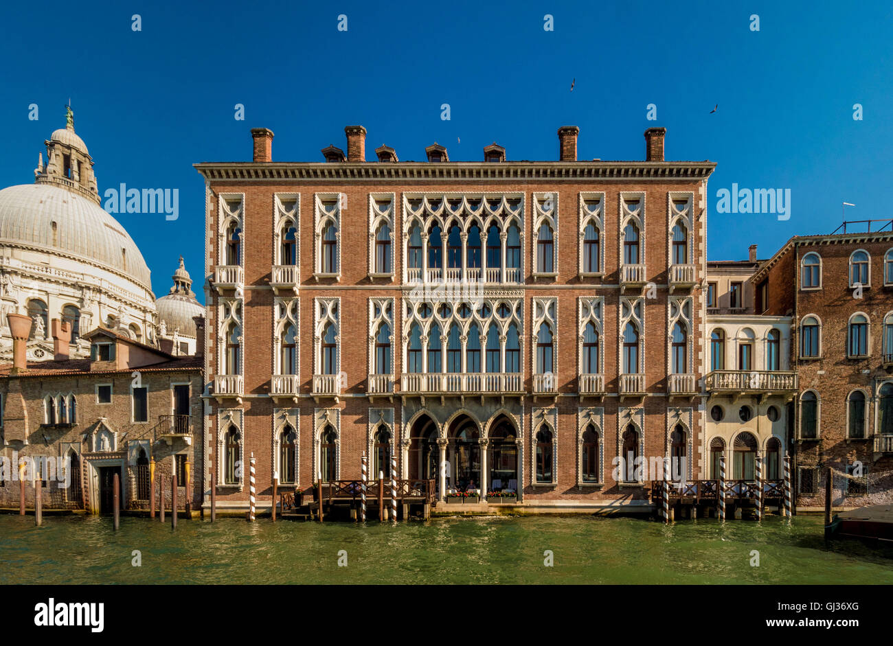 Traditional venetian palazzo buildings along the Grand Canal. Venice, Italy. - Stock Image