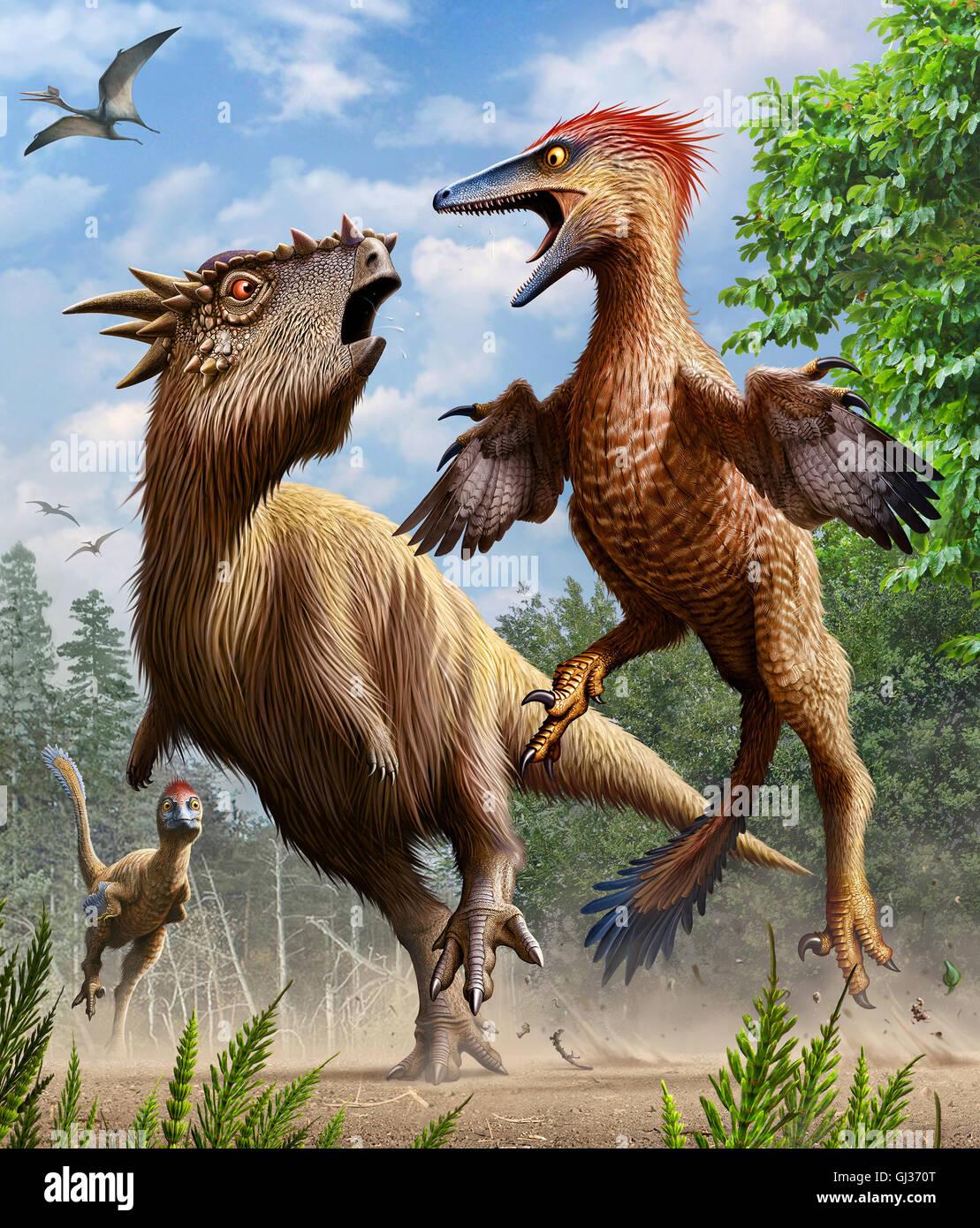Pectinodon bakkeri VS Stygimoloch - Stock Image