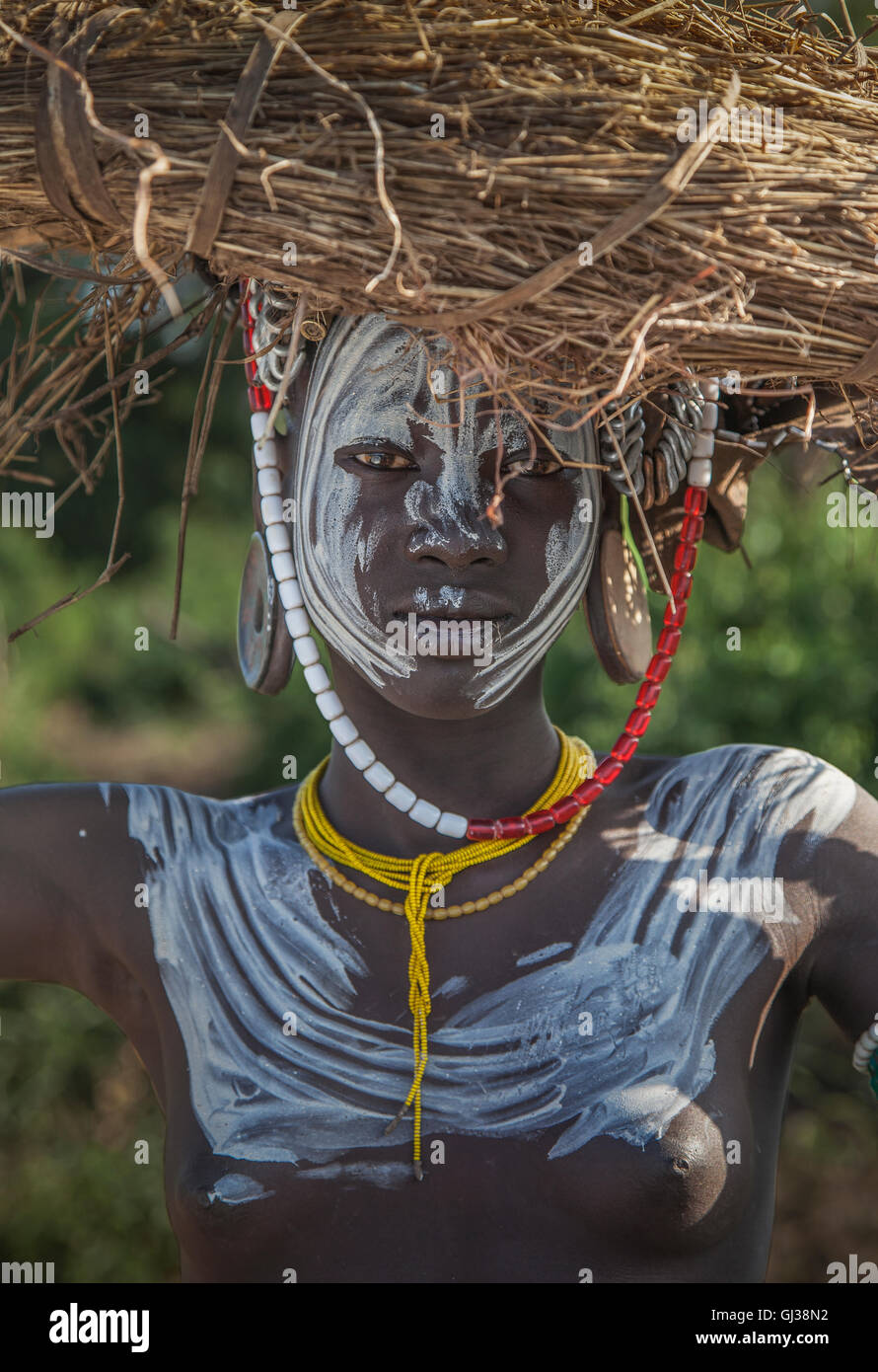 Woman of the Mursi Tribe, Omo Valley, Ethiopia - Stock Image