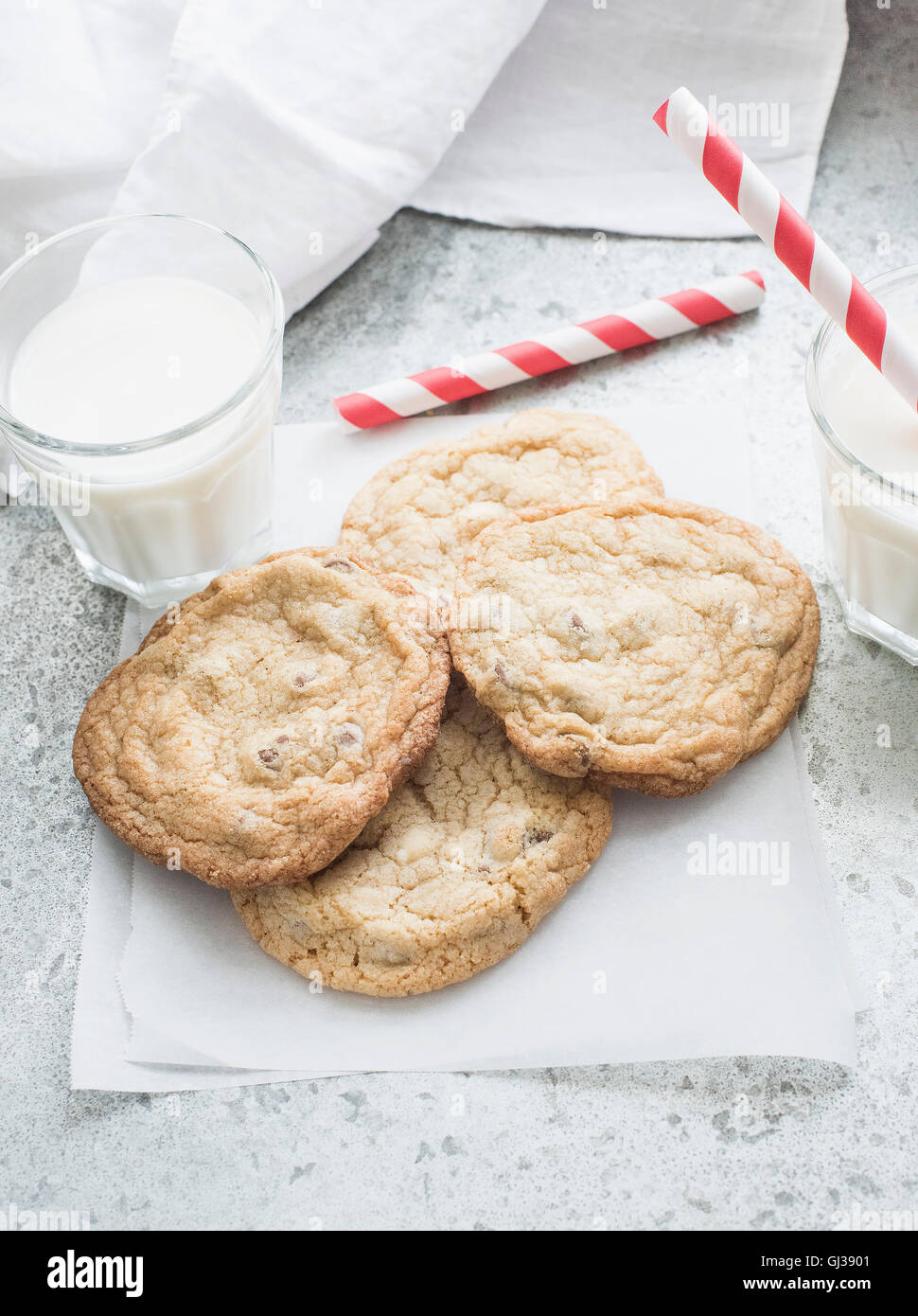 Chocolate chip cookies with milk - Stock Image