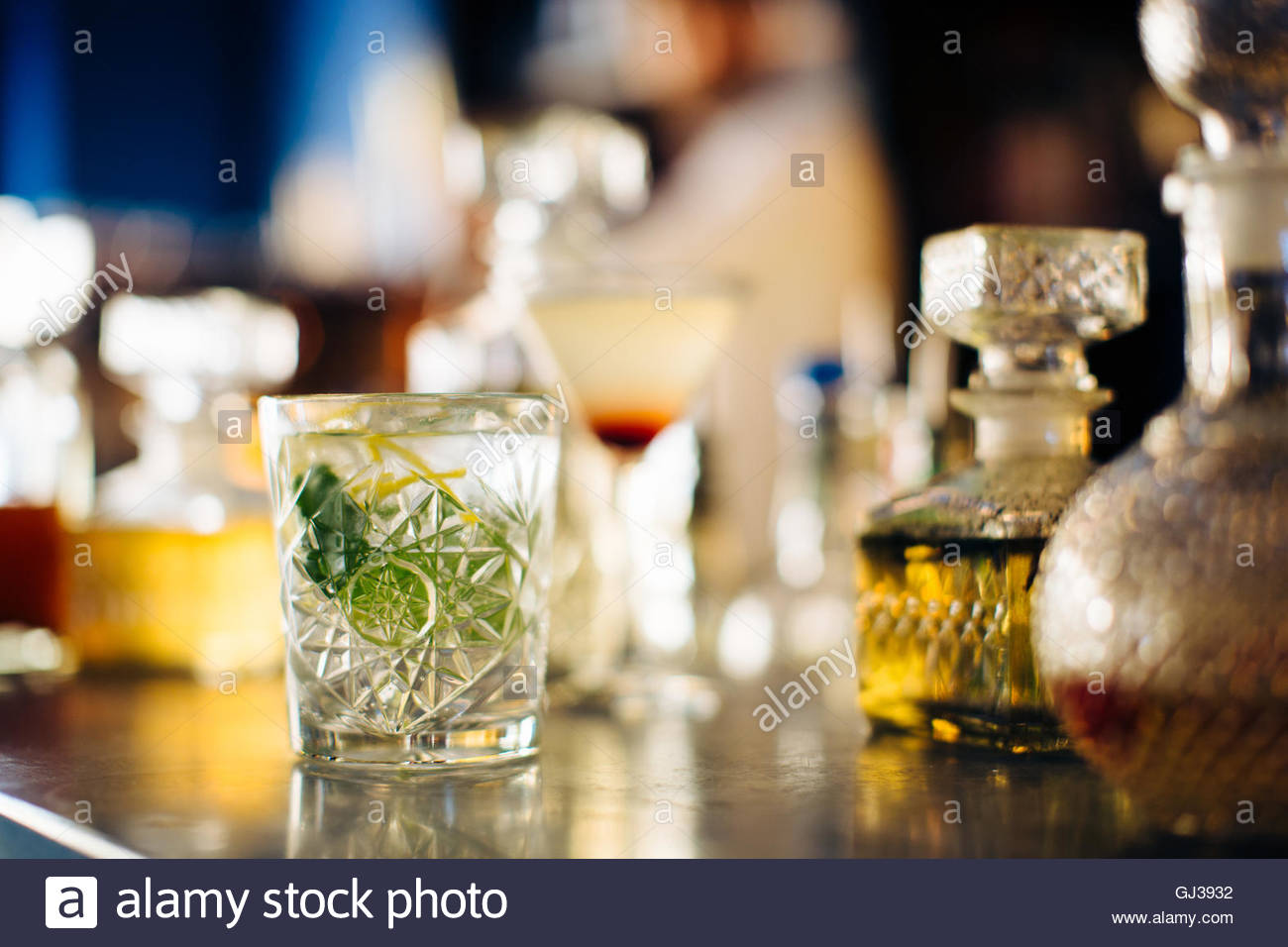 Drink on vintage cocktail bar counter, Florence, Italy - Stock Image