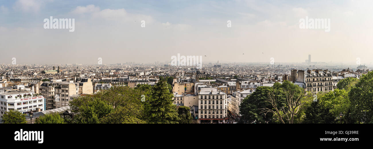Panoramic view of Paris from Sacre Coeur Basilica, Paris, France - Stock Image
