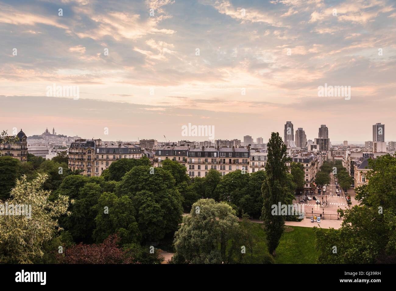 View from Parc des Buttes-Chaumont, Paris, France - Stock Image