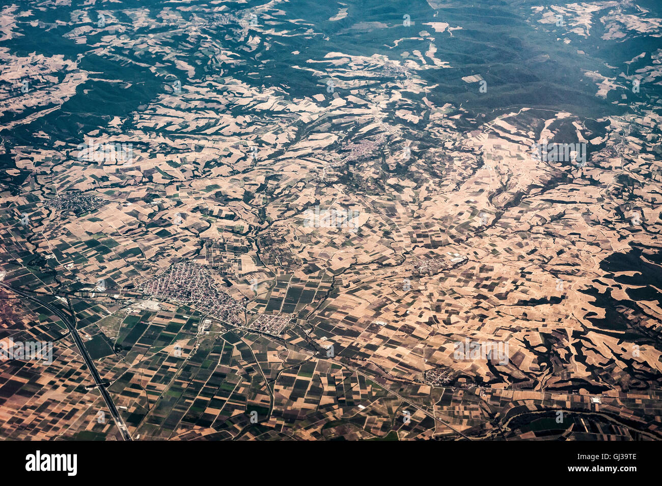 Aerial view of Greek mainland, - Stock Image