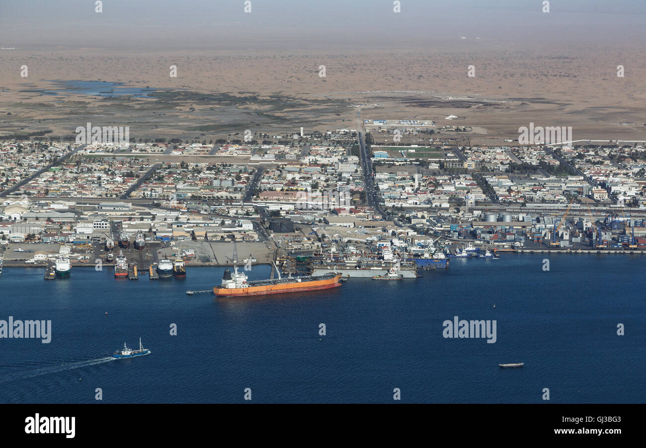 Aerial view of Swakopmund, Skeleton Coast, Namibia - Stock Image