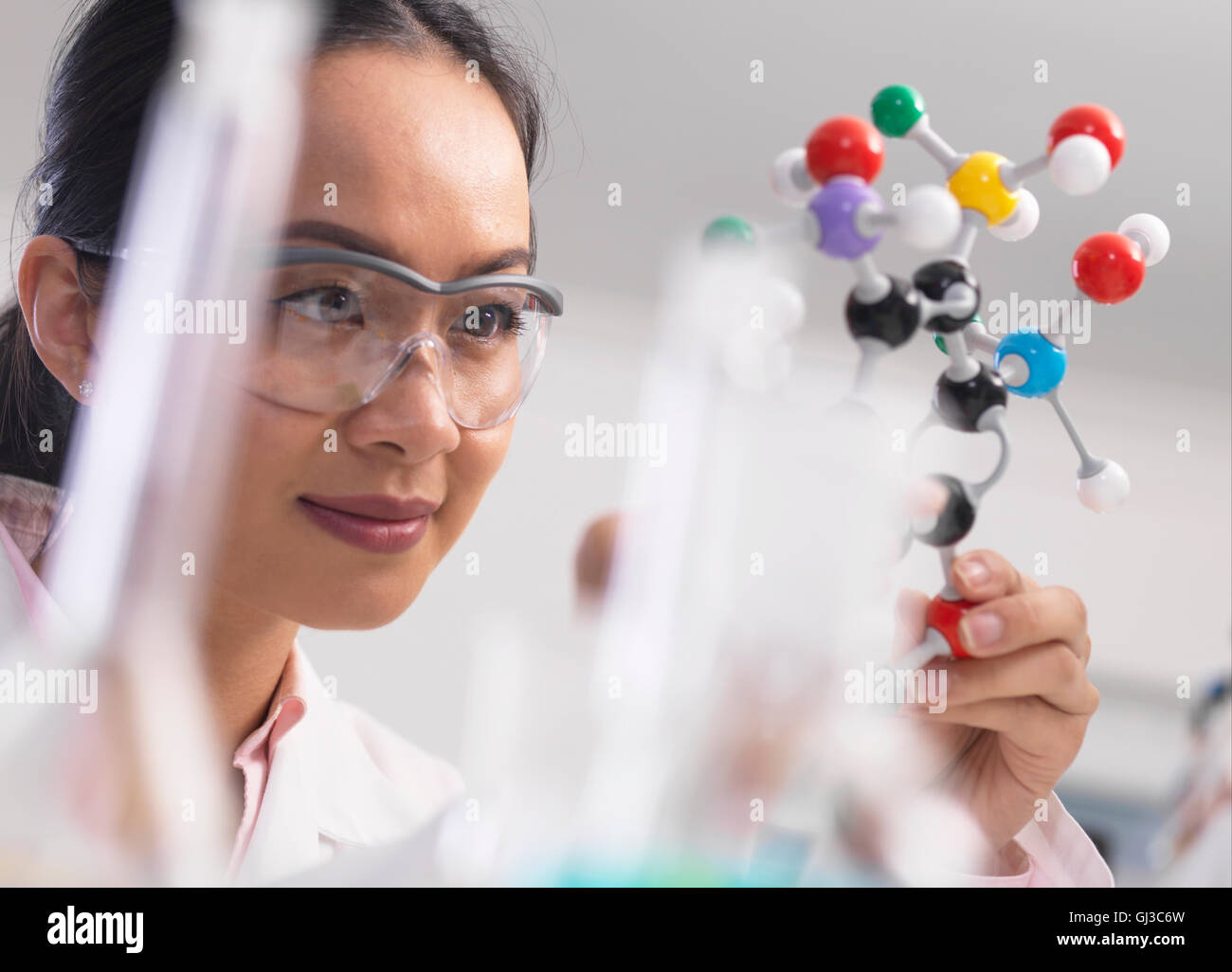Scientist using molecular model to understand chemical formula - Stock Image