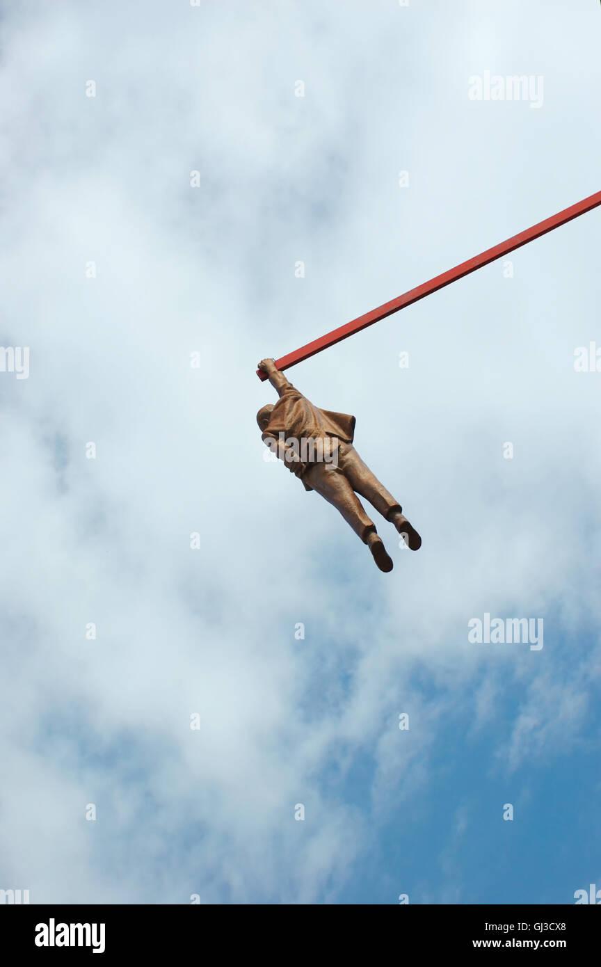 Sigmund Freud hanging monument in Prague,Czech Republic - Stock Image
