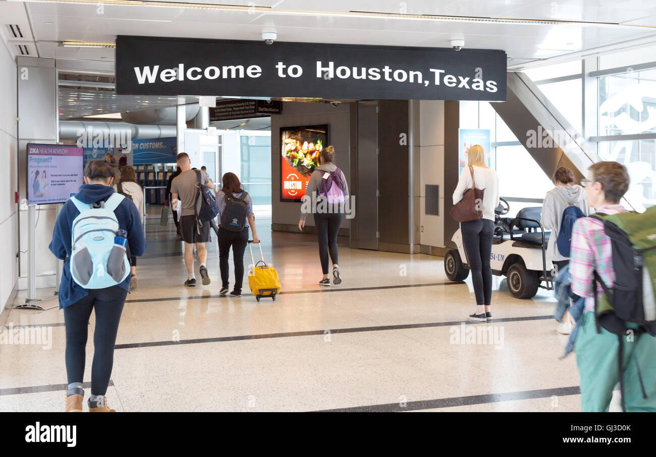 'Welcome to Houston, Texas' sign, Arrivals, George Bush intercontinental airport, Houston, Texas USA - Stock Image