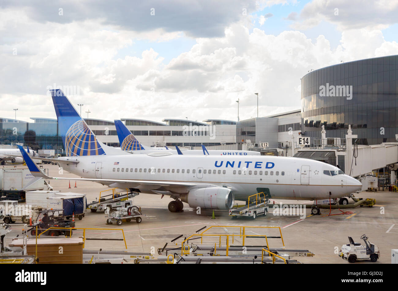 United airlines plane on the ground at George Bush Intercontinental airport, Houston, Texas, USA - Stock Image