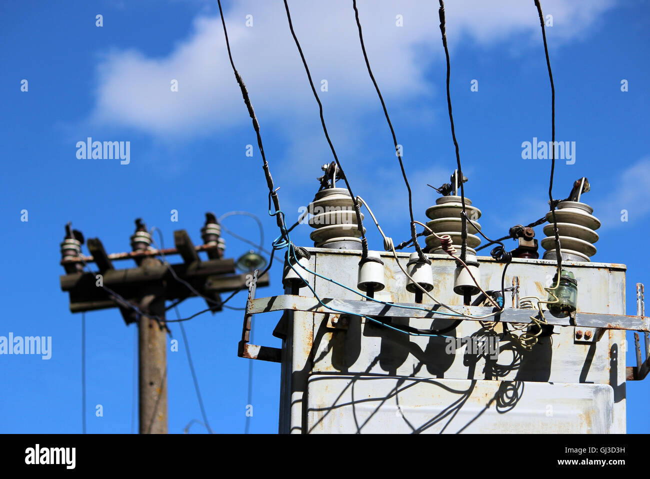 Transformer Circuit Stock Photos Images Overhead Wiring Diagram Electrical Wires Extending From The Station Near Railway On A Background Of Blue Sky