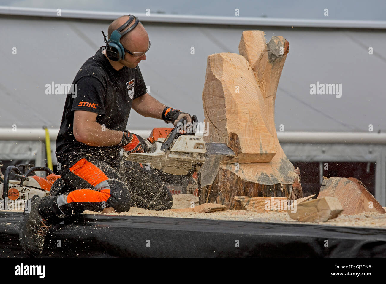 Man chainsaw carving owl from raw log at Countryfile Live 2016 Blenheim UK - Stock Image
