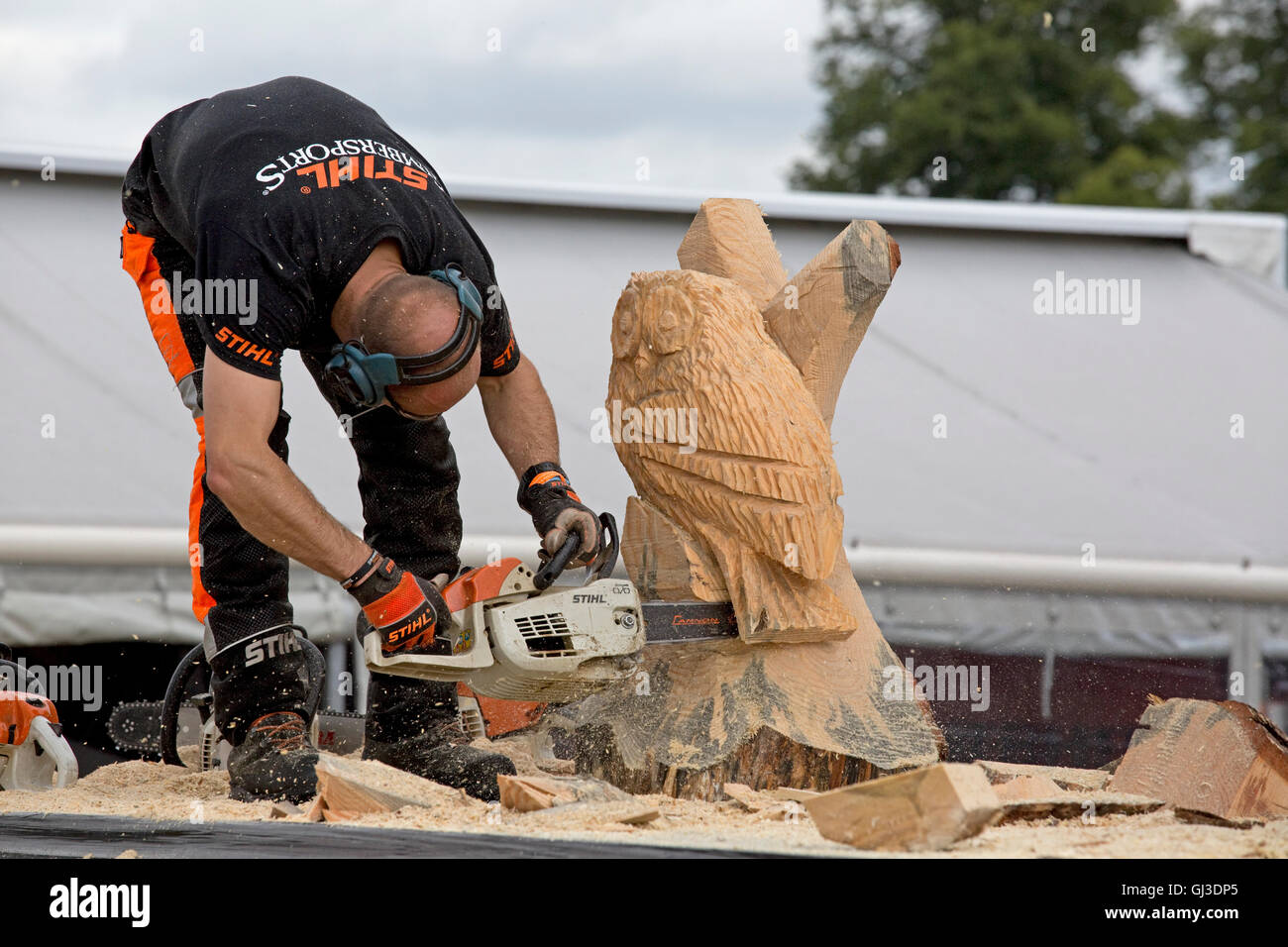 Chainsaw carving stock photos