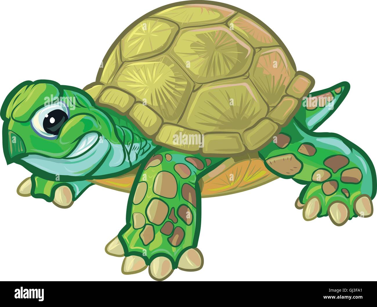 Vector cartoon clip art illustration of a cute but tough baby turtle or tortoise mascot with a feisty smirk or smile