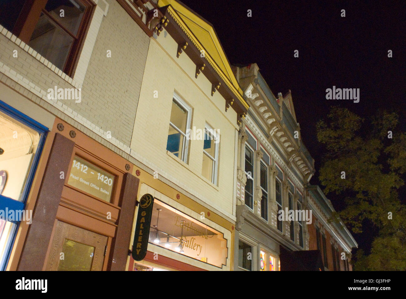 Pearl Street Mall Buildings at night - Stock Image