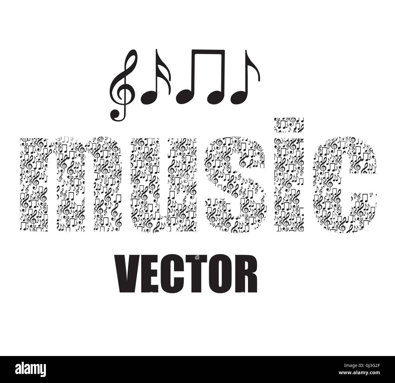 illustration of musical notes forming music word music sound vec stock image