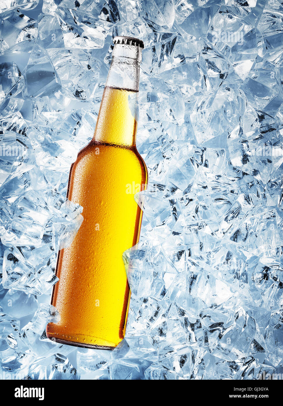Yellow bottle of beer with drops on ice cubes Stock Photo