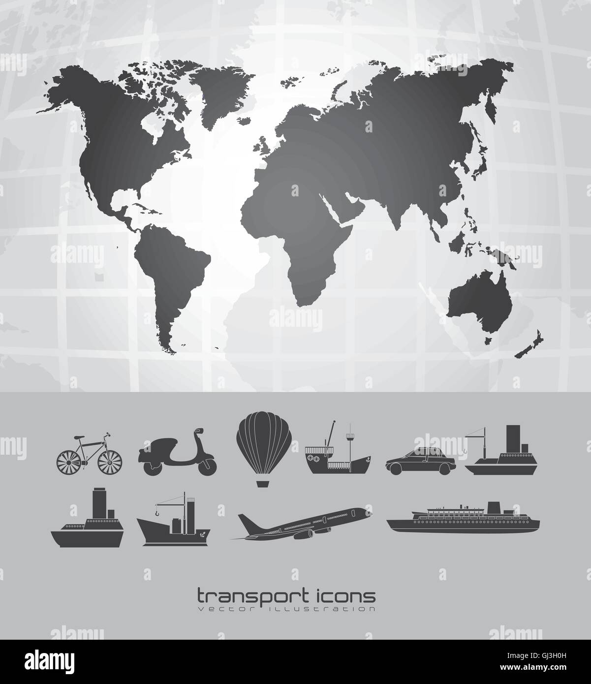 Illustration of transportation icons with world map vector illus illustration of transportation icons with world map vector illus gumiabroncs Images