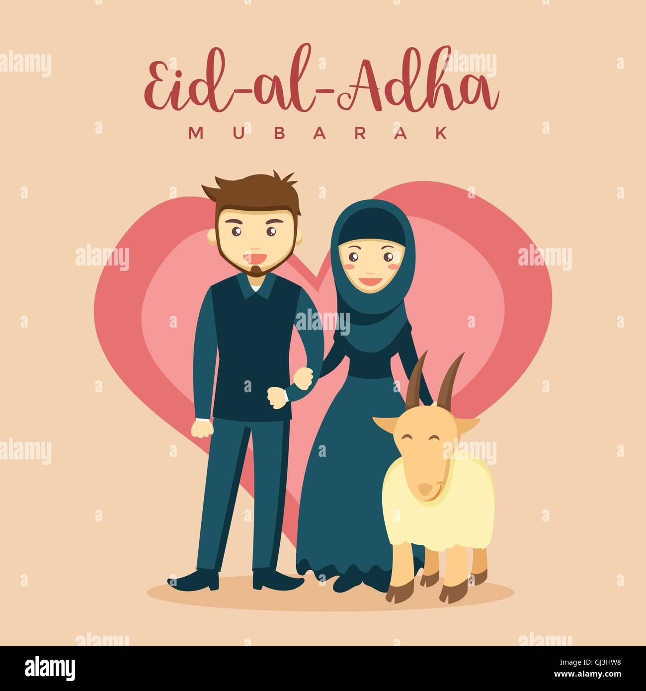 Muslim Couple Eid Al Adha Greeting Card - Love Qurban Stock Vector