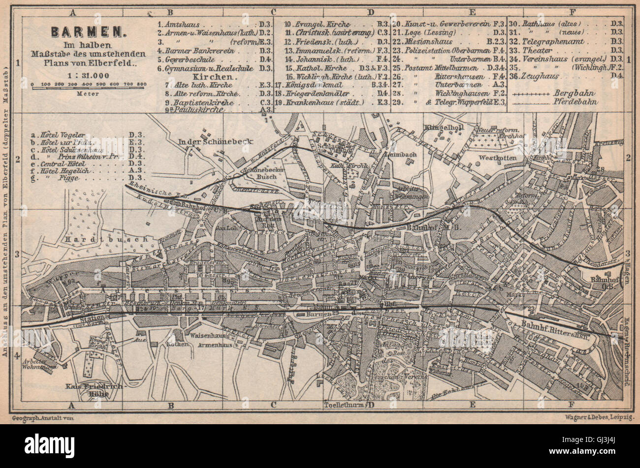 ELBERFELD WUPPERTAL  vintage town city stadtplan Germany karte 1926 old map