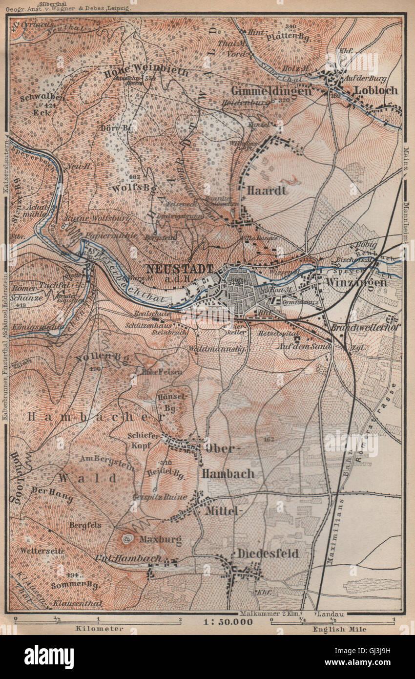 Art Prints Neustadt An Der Weinstraße & Winzingen Neustadt An Der Haardt Karte 1906 Map Maps, Atlases & Globes