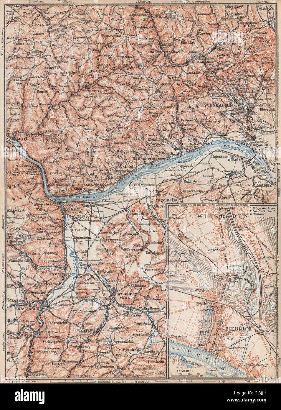 THE RHEINGAU topo-map. Wiesbaden Lorch Rüdesheim Mainz. Germany ...