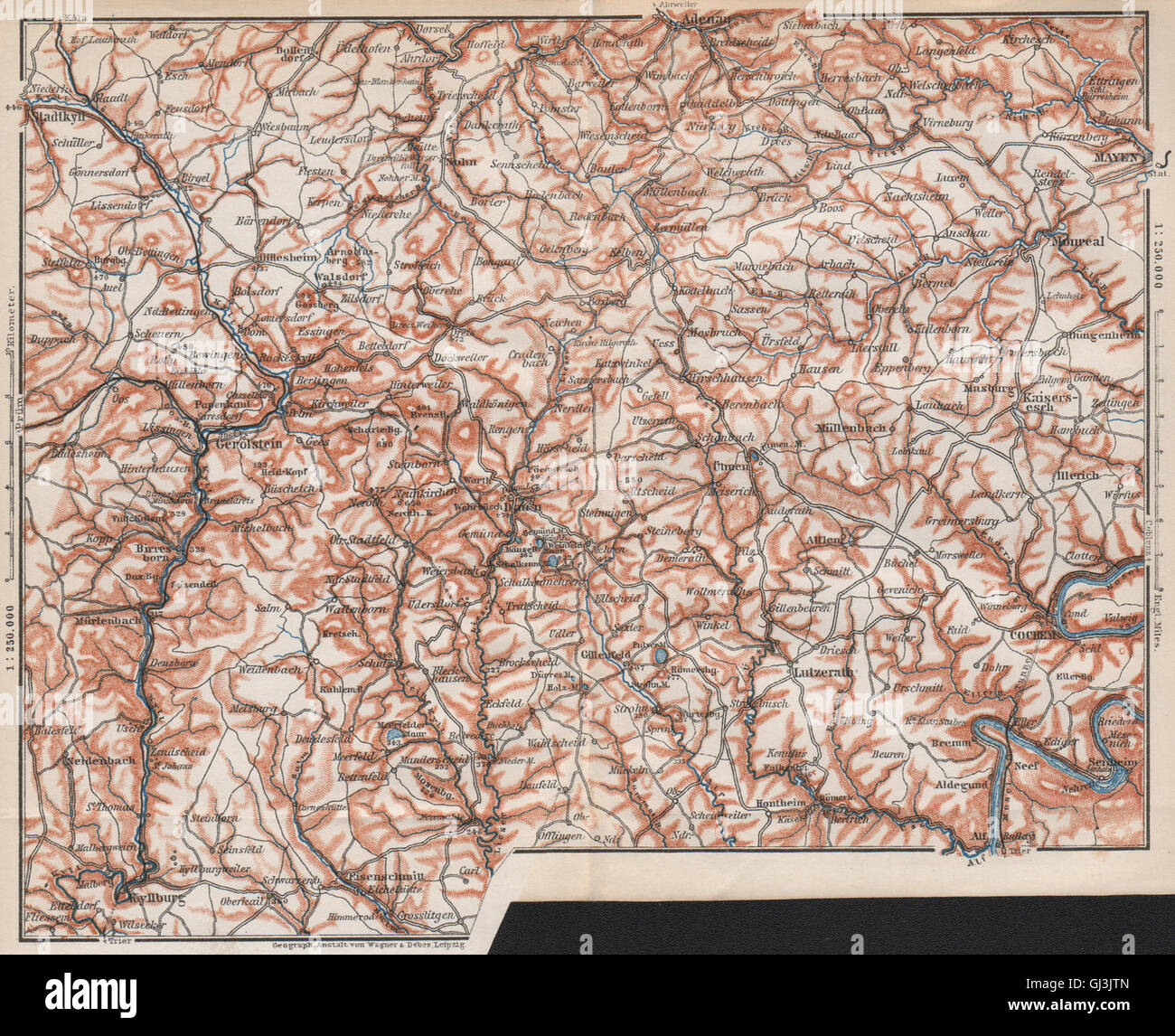 Karte Eifel.Vulkaneifel The Volcanic Eifel Topo Map Gerolstein Germany Karte