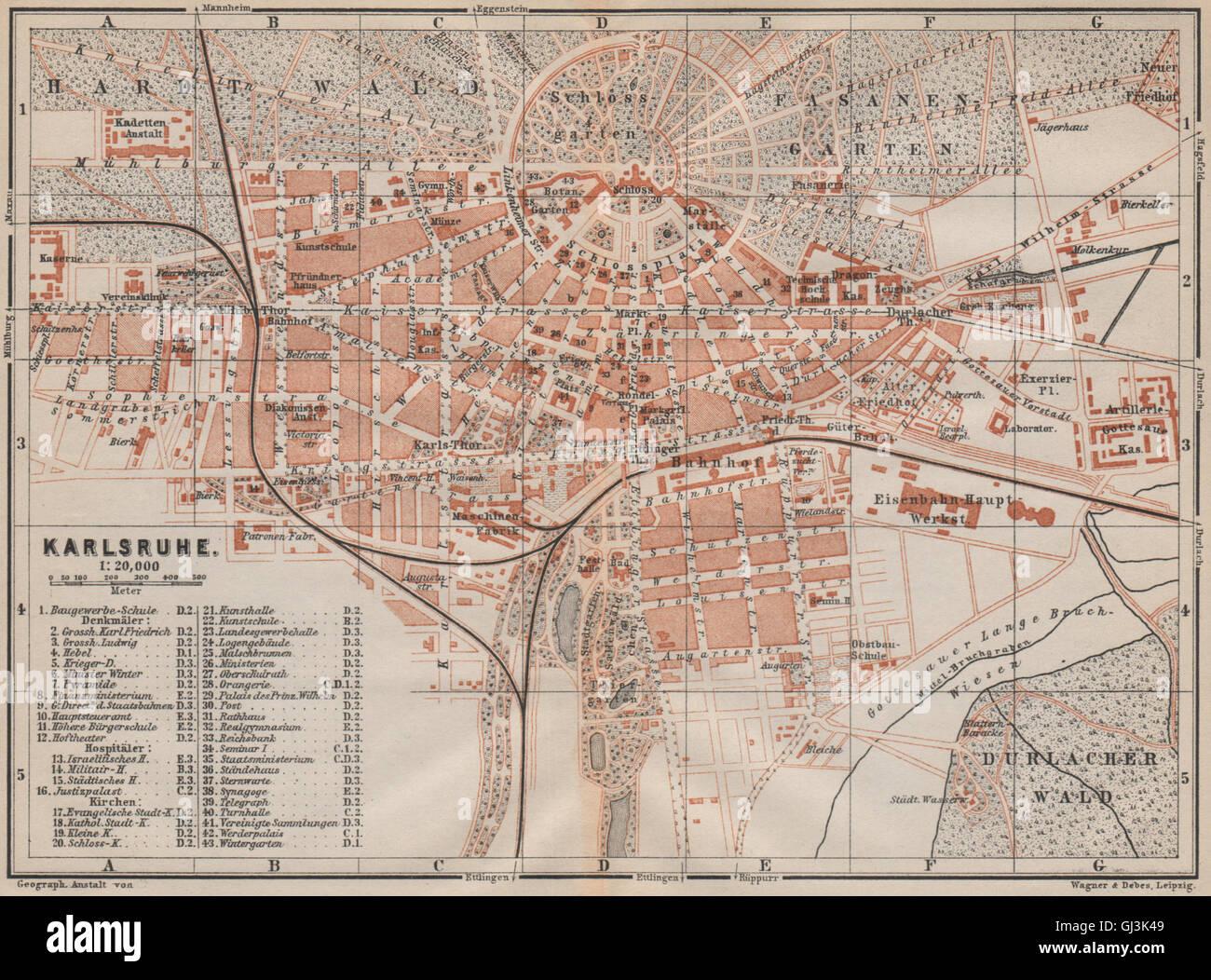 Karte Karlsruhe.Karlsruhe Antique Town City Stadtplan Baden Württemberg Karte 1892