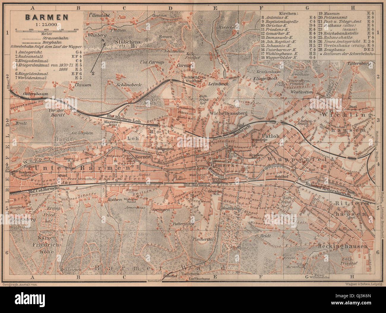 Wuppertal Karte.Barmen Wuppertal Antique Town City Stadtplan Germany Karte 1903