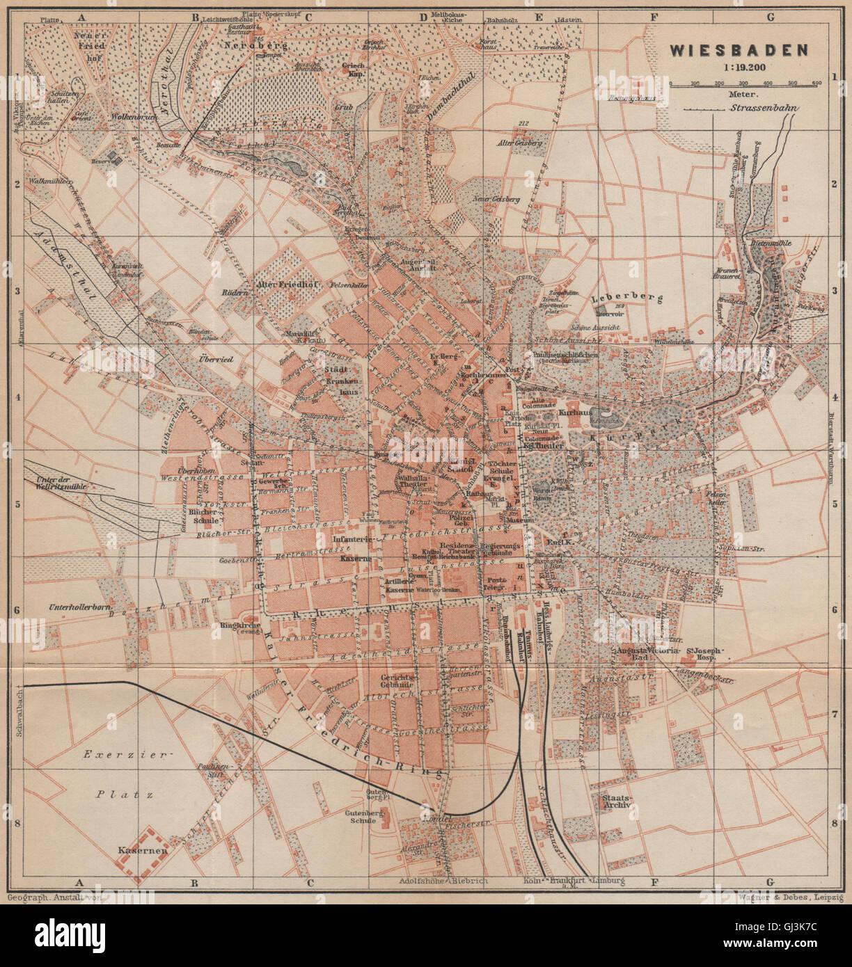 BAEDEKER 1903 old map METZ antique town city stadtplan Moselle carte