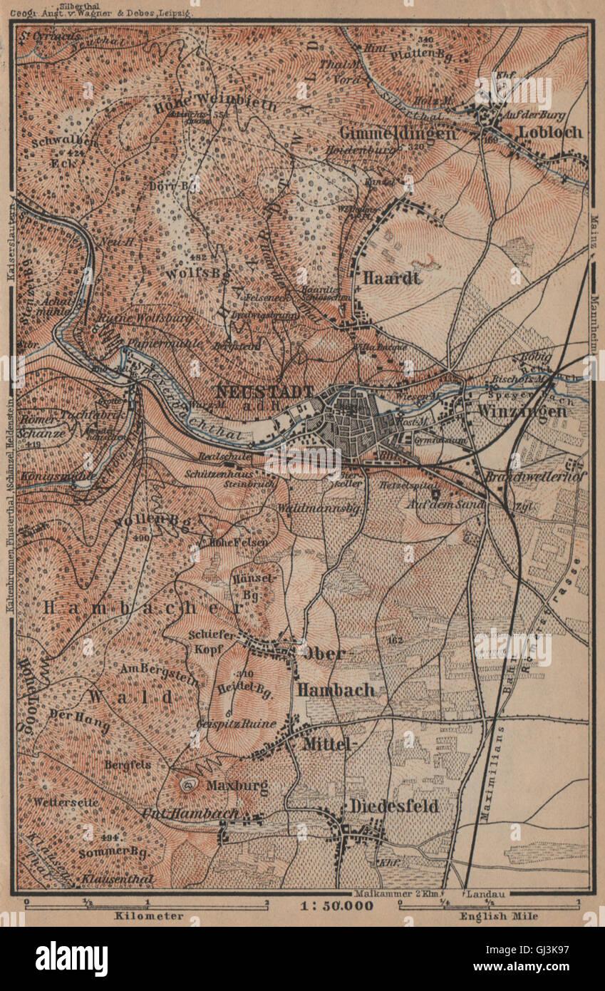 Neustadt An Der Haardt Karte 1906 Map Art Neustadt An Der Weinstraße & Winzingen