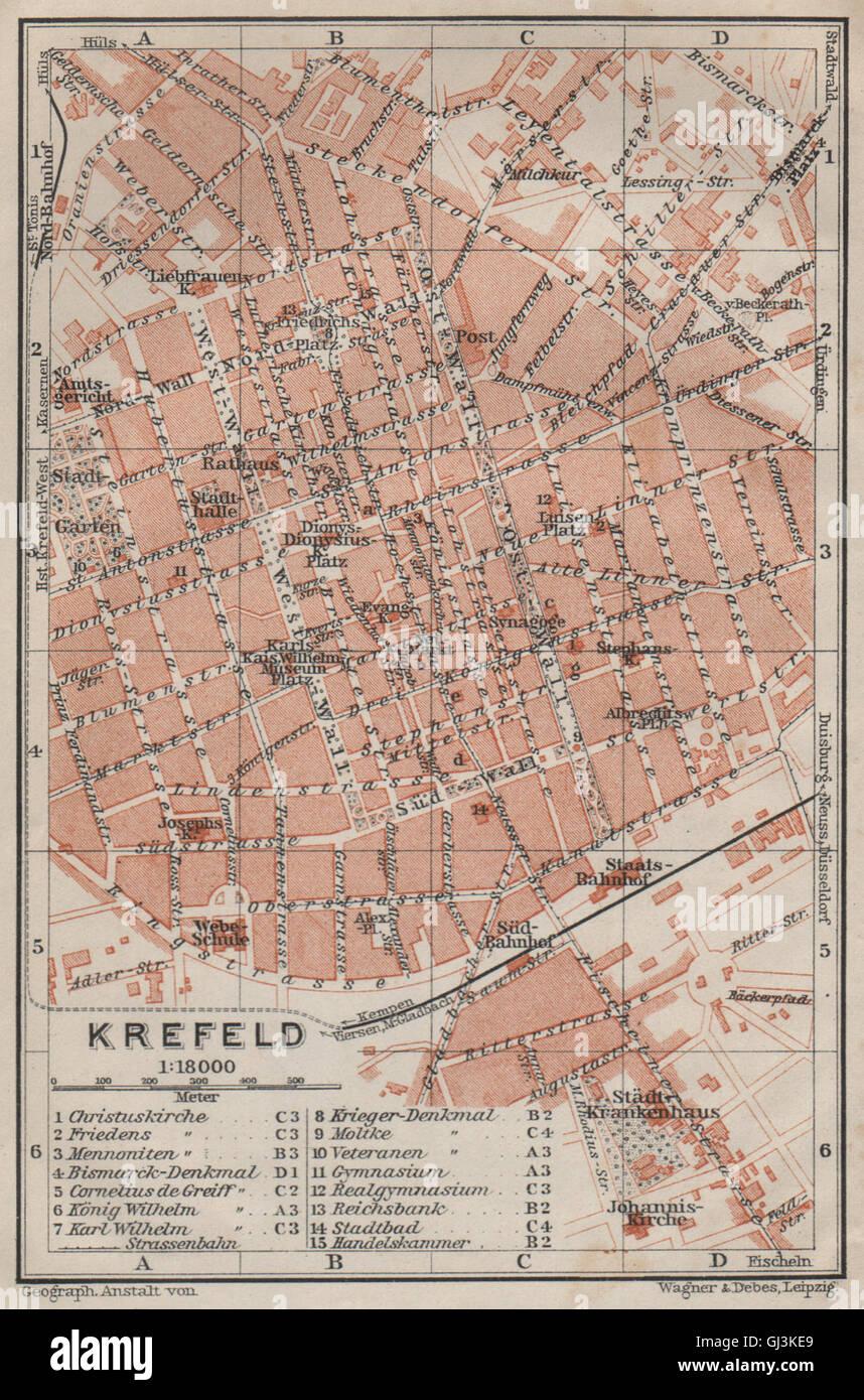 Krefeld Karte.Krefeld Town City Stadtplan Northrhine Westfalia Crefeld Karte