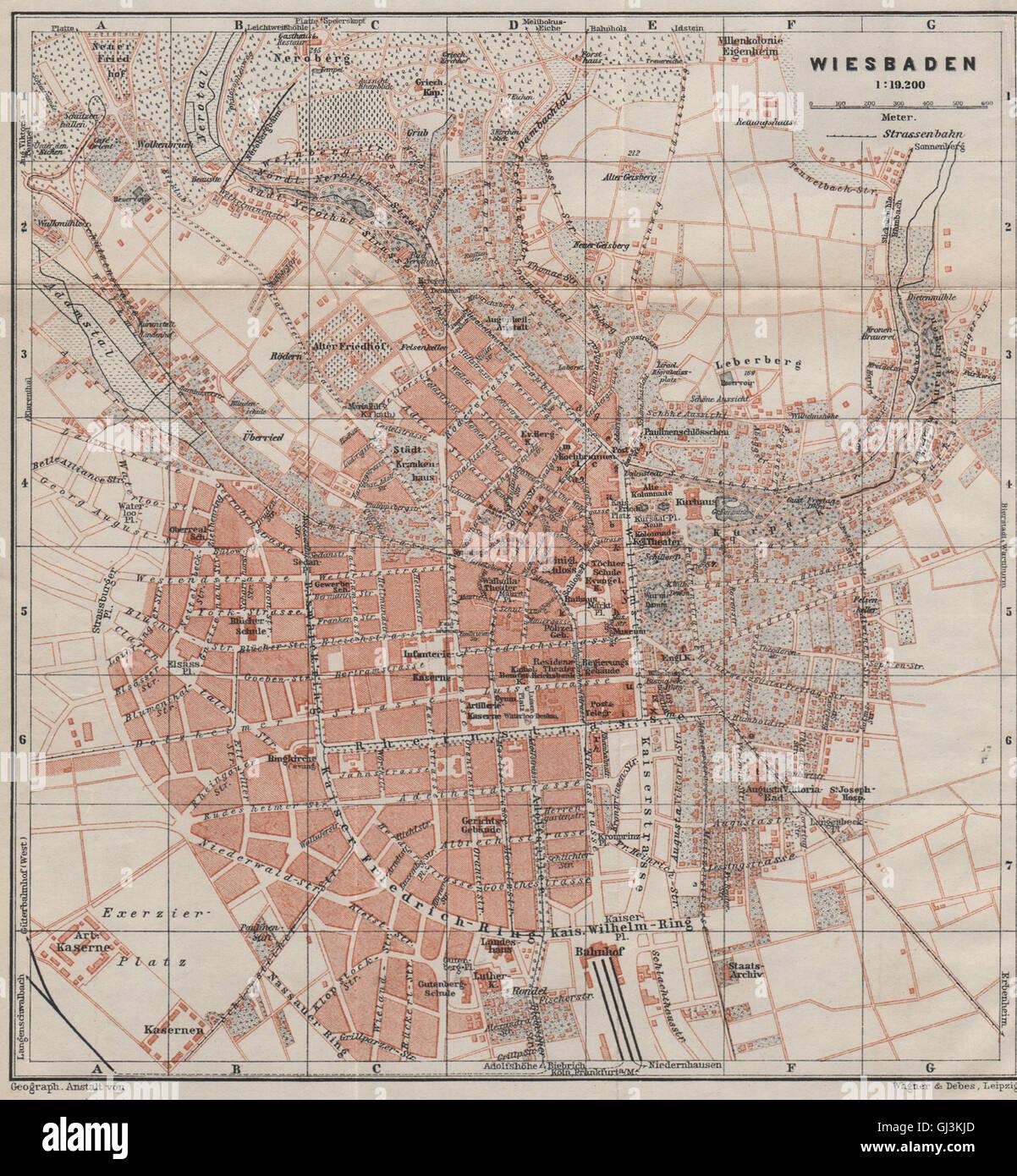 Wiesbaden Karte.Wiesbaden Antique Town City Stadtplan Hessen Karte Baedeker 1906