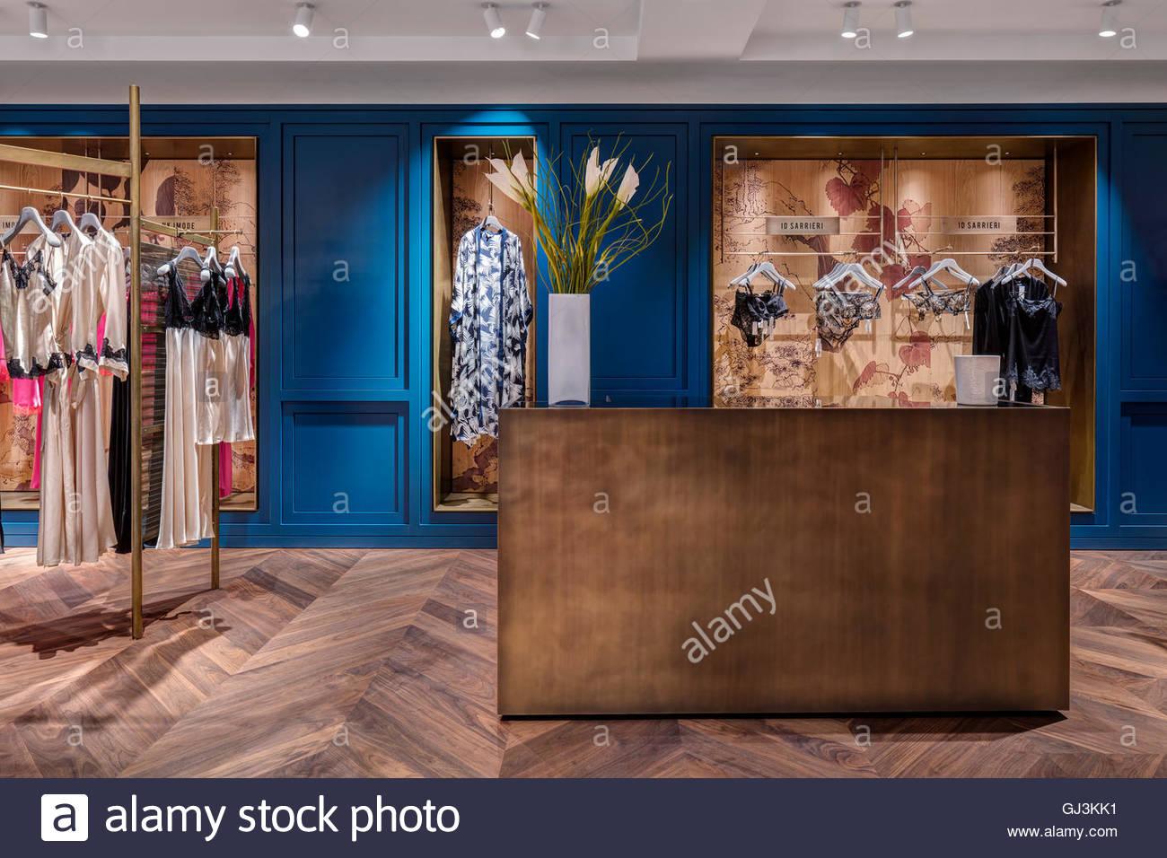 Nightwear space view. The Body Studio, London, United Kingdom. Architect: Neri&Hu, 2016. - Stock Image