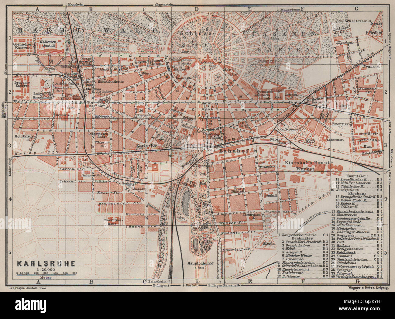 Karte Karlsruhe.Karlsruhe Antique Town City Stadtplan Baden Württemberg Karte 1906