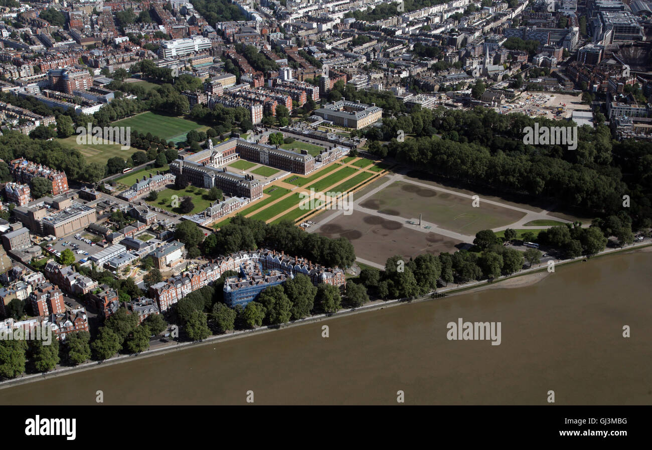 aerial view of the Royal Hospital Chelsea & RHS Chelsea flower show site, London SW10, UK - Stock Image