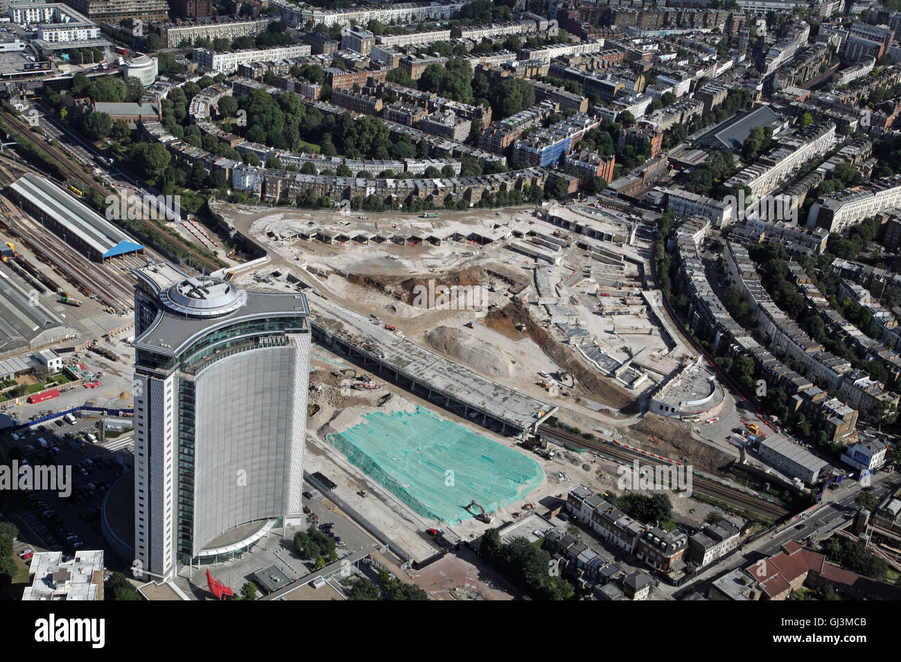 aerial view of The Empress State Building at Olympia, Earls Court, London, UK - Stock Image