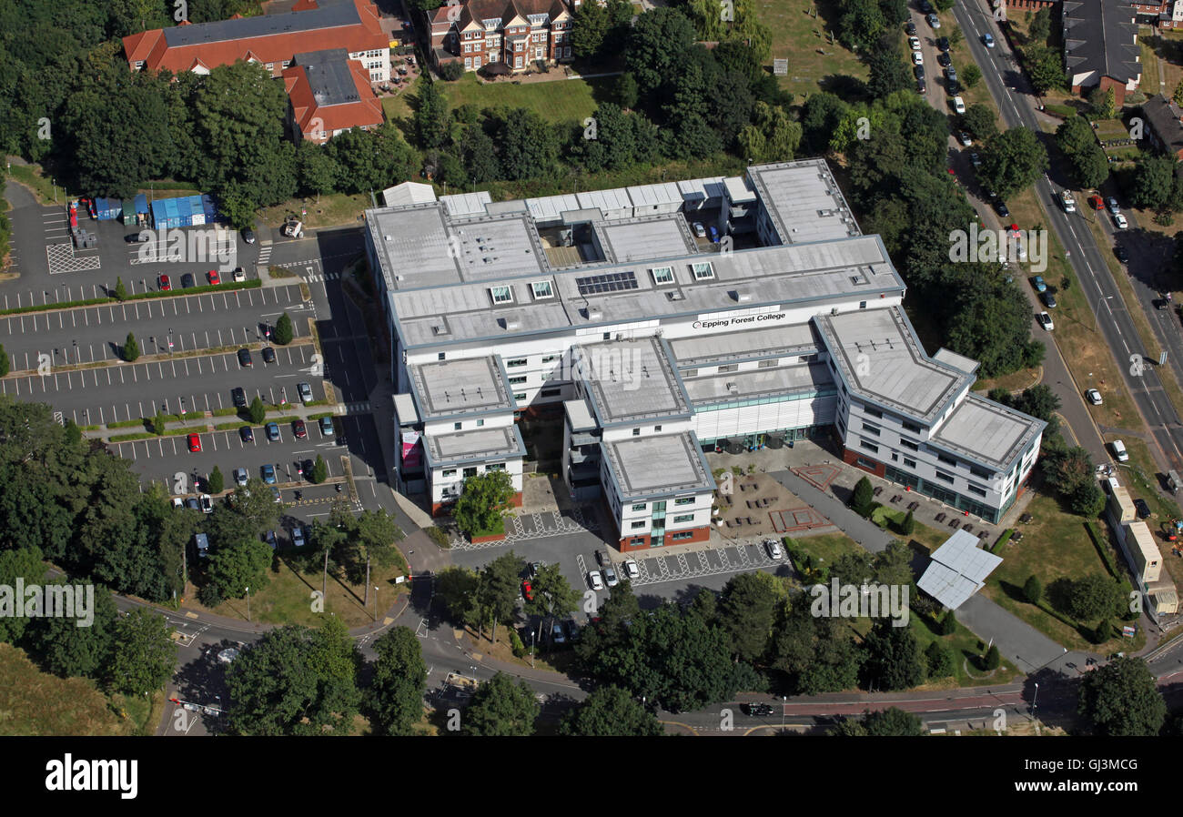 aerial view of Epping Forest 6th form College in Essex, UK - Stock Image