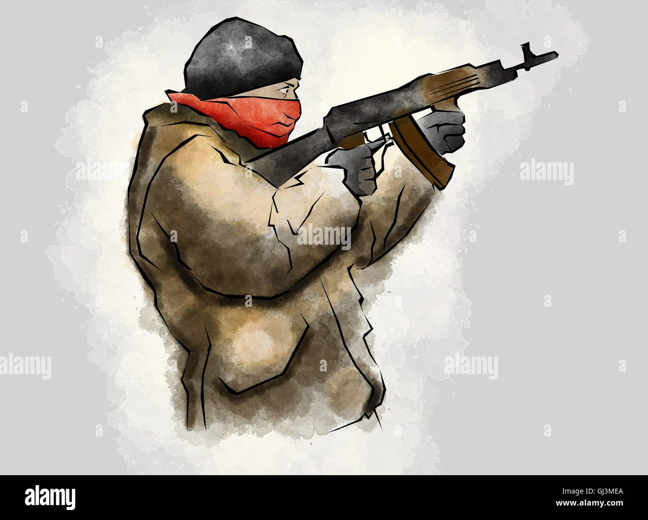 Fighter with rifle, in the act of shooting, hand drawn Stock Photo