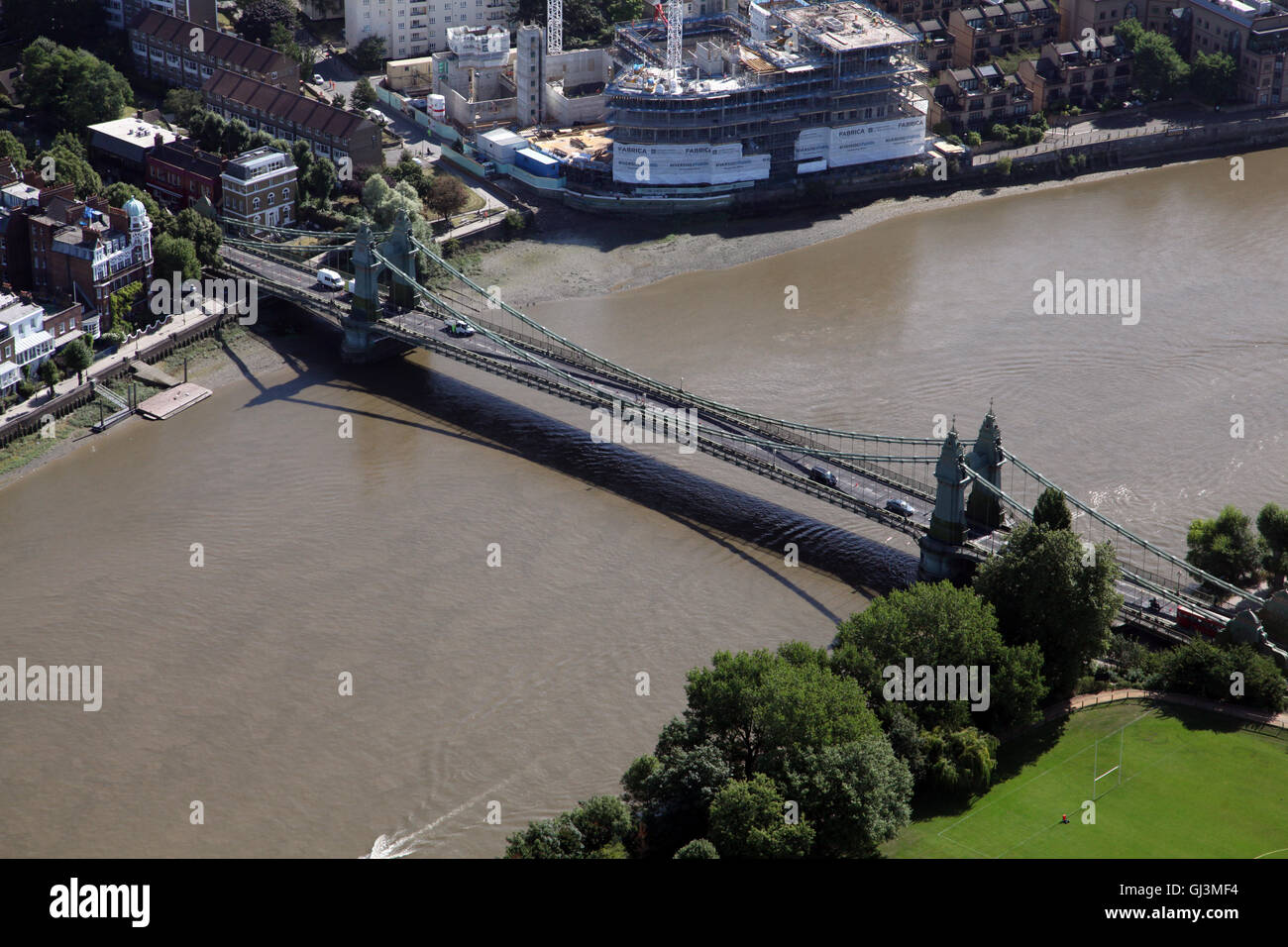 aerial view of Hammersmith Bridge over the River Thames, London, UK - Stock Image
