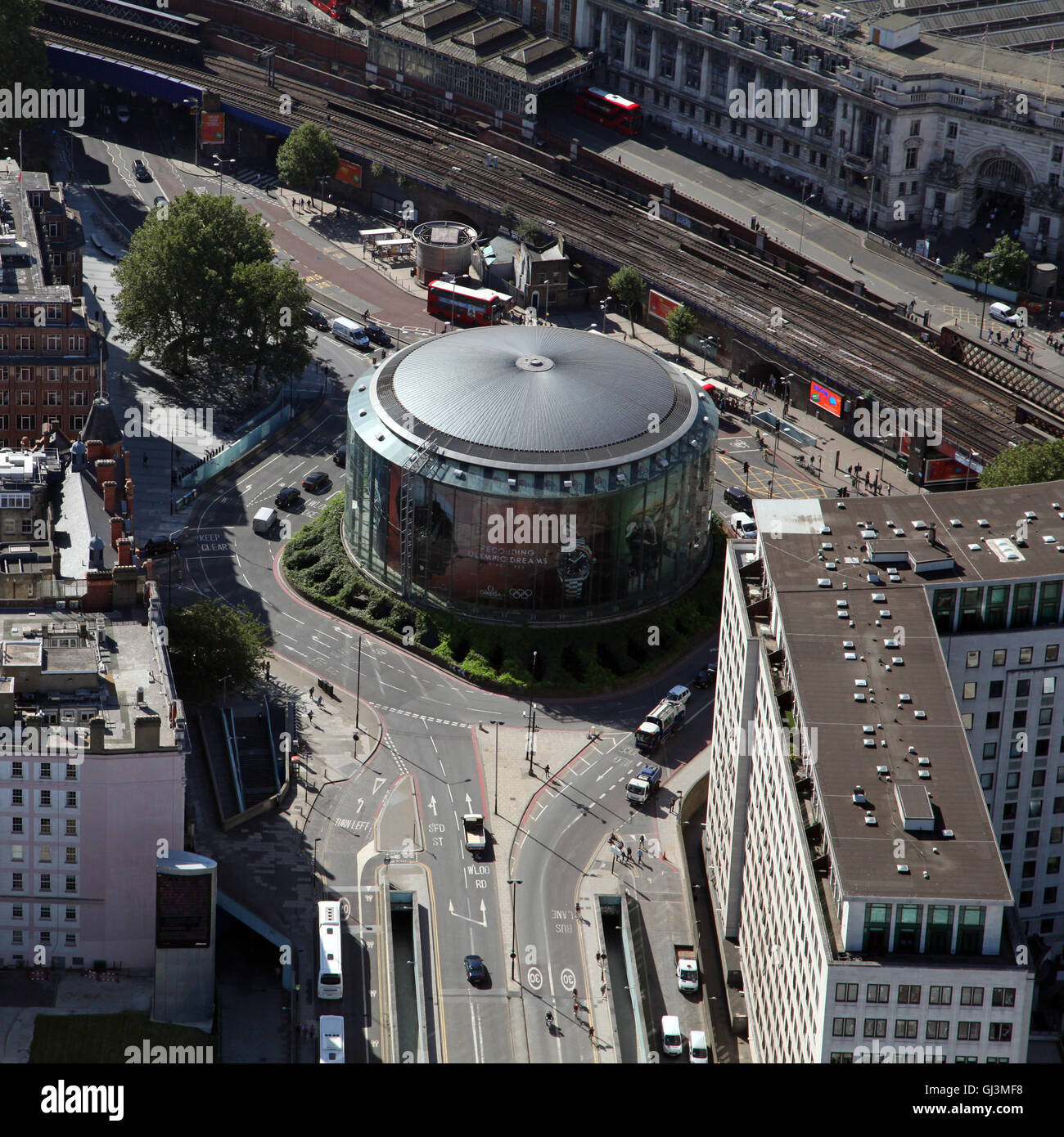 aerial view of the British Film Institute IMAX cinema on the South Bank in London, UK - Stock Image