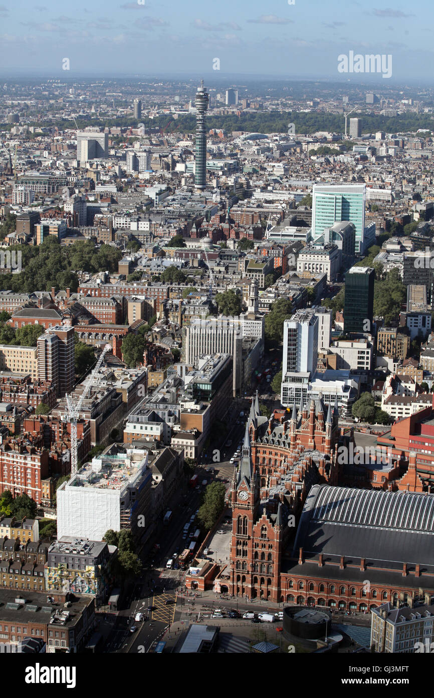 aerial view of St Pancras Station operated by Eurostar, looking towards BT Tower, London, UK - Stock Image