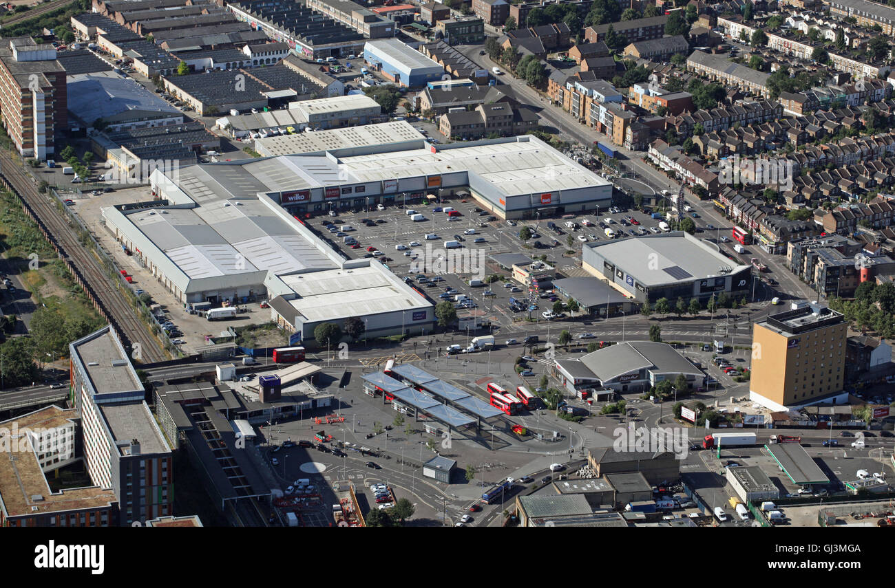 aerial view of Tottenham Hale Retail Park,train & bus stations, London N15, UK - Stock Image