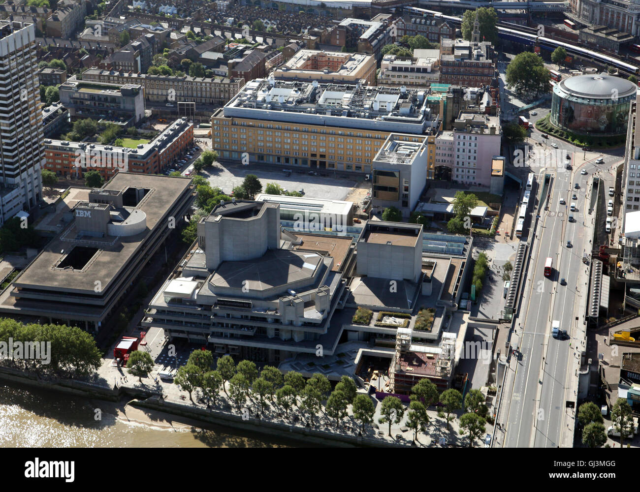 aerial view of National Theatre, London Studios, Cottesloe Theatre, Franklin Williams Building, Lambeth, London - Stock Image